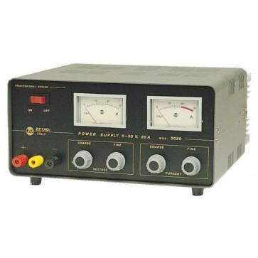 Zetagi Alimentatore Stabilizzato Regolabile 0-30V, 0-20A, Doppio Strumento.